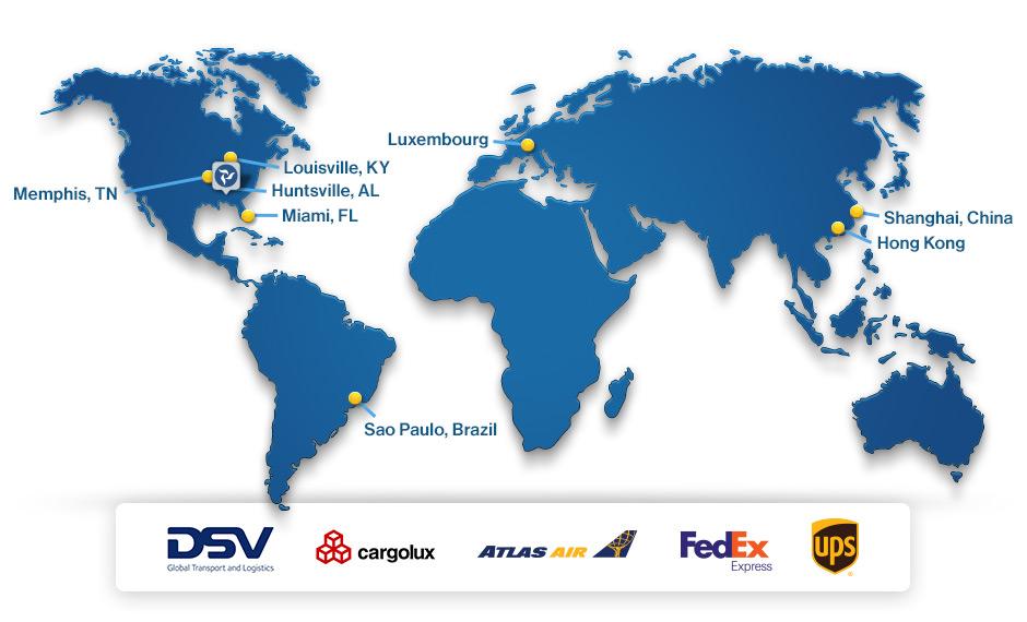 Air Cargo Destinations Map